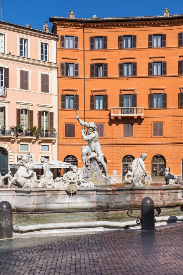 Roma Italia - fontana di Nettuno alla piazza Navona fotografia stock