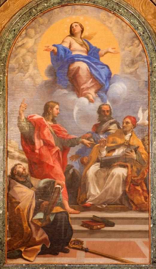 ROMA, ITALIA: Inmaculada Concepción y los santos John Ev , John Bap , Augustine, Gregory, en los di Santa Maria del Popolo de la  imagen de archivo