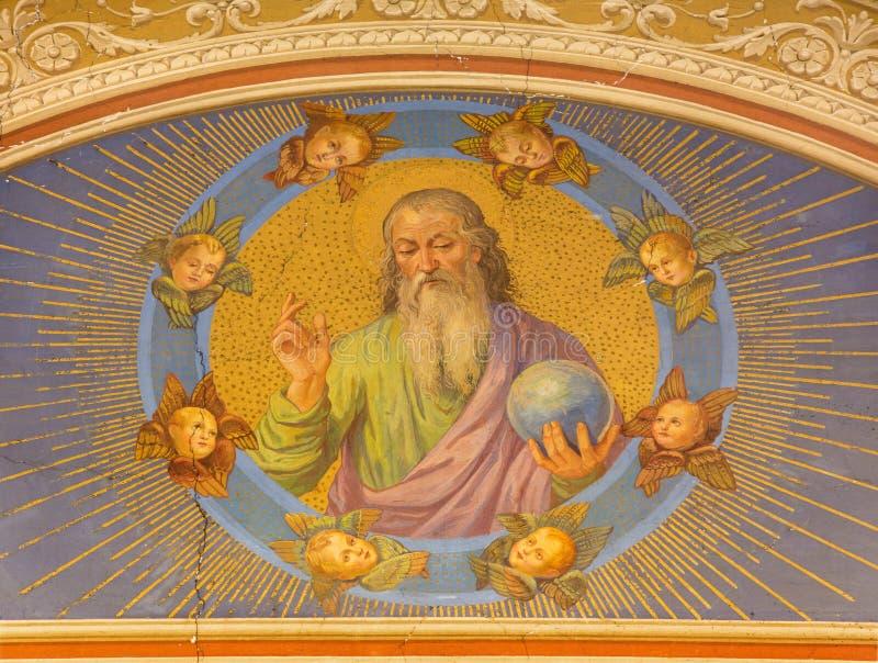 ROMA, ITALIA: L'affresco Dio il creatore dall'artista sconosciuto nel del Sacro Cuore di Chiesa di Nostra Signora della chiesa fotografia stock
