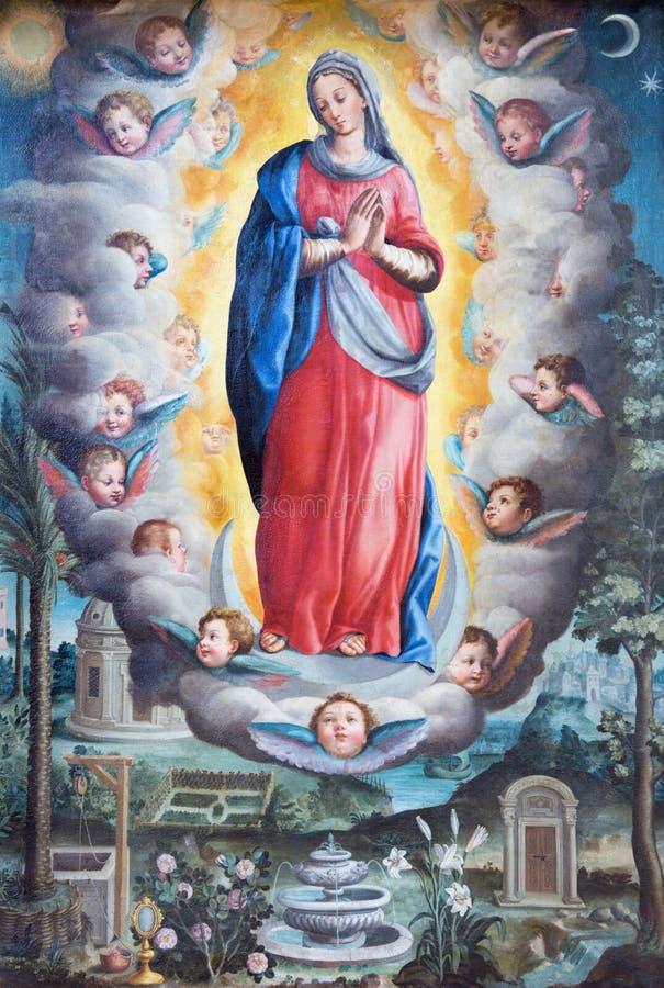 ROMA, ITALIA, 2016: La pintura de la Inmaculada Concepción en la iglesia Basilica di San Vitale de Giovanni Battista Fiammeri fotografía de archivo