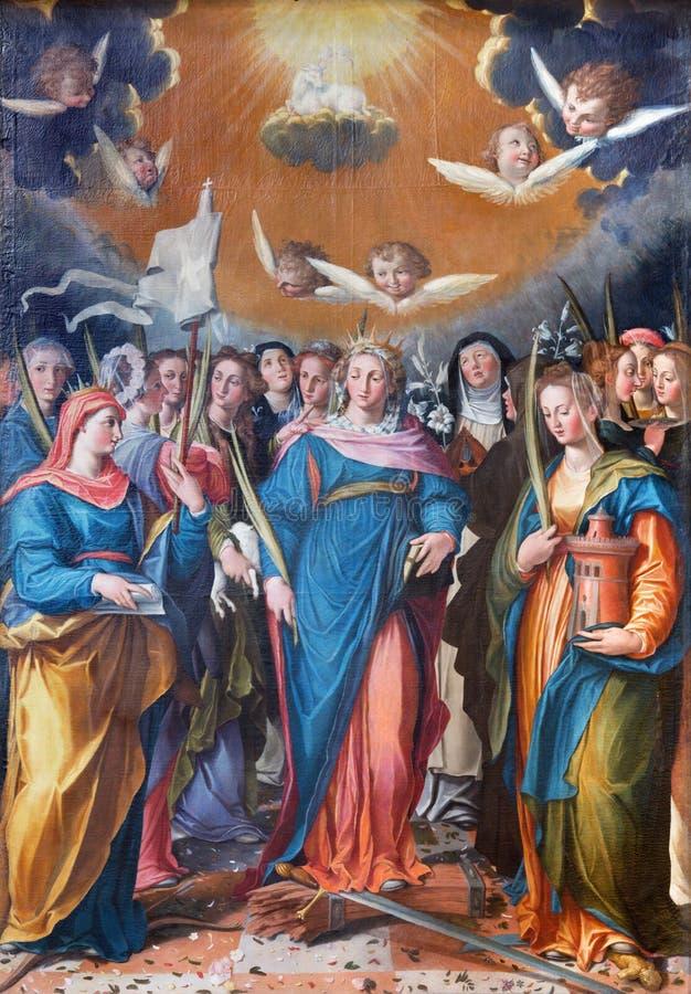 ROMA, ITALIA, 2016: La pintura Triumph de las vírgenes en la iglesia Basilica di San Vitale de Giovanni Battista Fiammeri imágenes de archivo libres de regalías