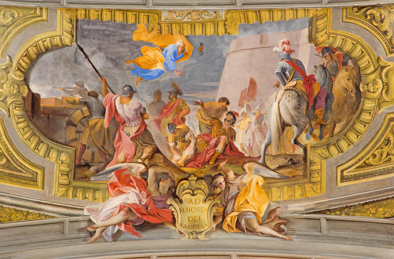ROMA, ITALIA - 10 MARZO 2016: L'affresco della conversione della st Ignace & di x28; assediamento di Pamplona& x29; da Ludovico M fotografie stock libere da diritti