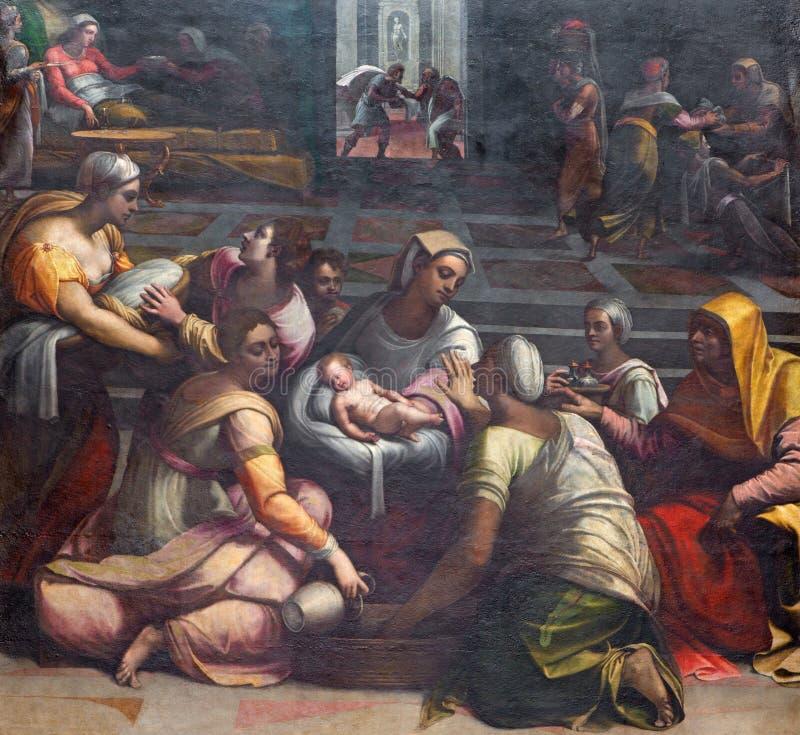 ROMA, ITALIA - 9 MARZO 2016: La natività del vergine nella cappella di Chigi dei Di Santa Maria del Popolo della basilica immagine stock