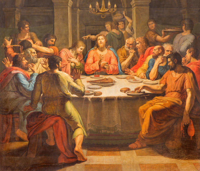 ROMA, ITALIA - 12 MARZO 2016: La pittura di ultima cena in Di San Lorenzo della basilica della chiesa in Damaso da Vincenzo Berre fotografia stock