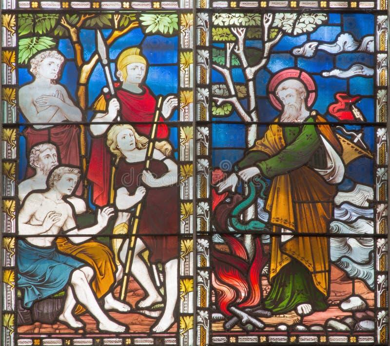 ROMA, ITALIA - 9 MARZO 2016: La scena St Paul con la vipera sulla mano sul vetro macchiato di tutta la Chiesa Anglicana del ` dei immagine stock