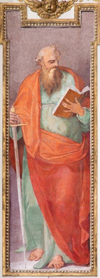 ROMA, ITALIA - 12 MARZO 2016: St Paul l'affresco dell'apostolo in dei Fiorentini di San Giovanni della basilica della chiesa da N fotografia stock