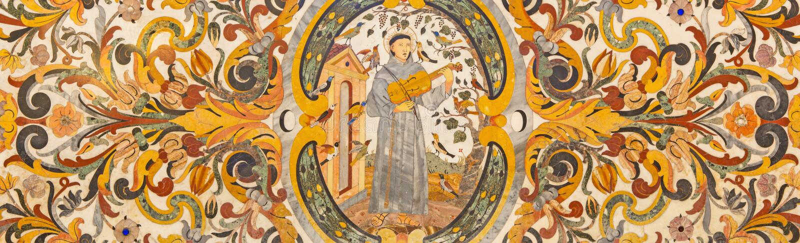 ROMA, ITALIA: Mosaico floral de piedra con el St Francis en jugar en el violín para los pájaros en los di Santa Maria de la basíl foto de archivo