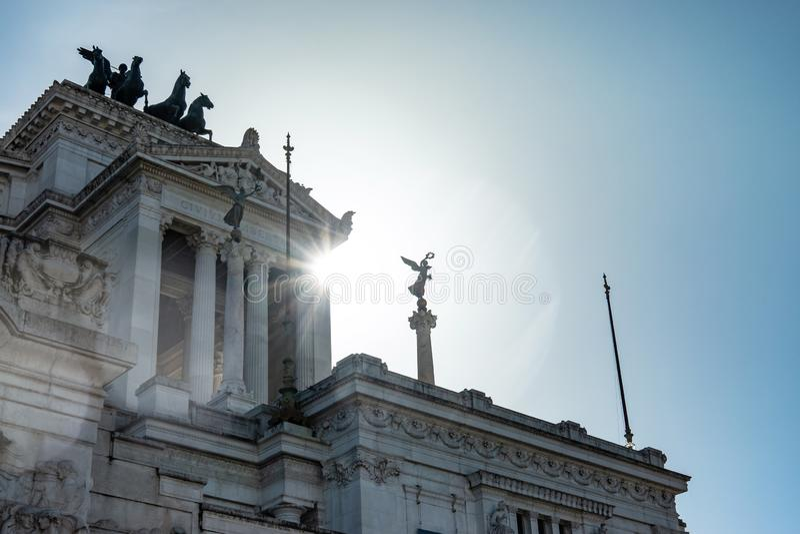 ROMA, Italia: Vista que sorprende del altar de la patria, della Patria de Altare, conocido como el monumento nacional a Victor Em fotografía de archivo libre de regalías