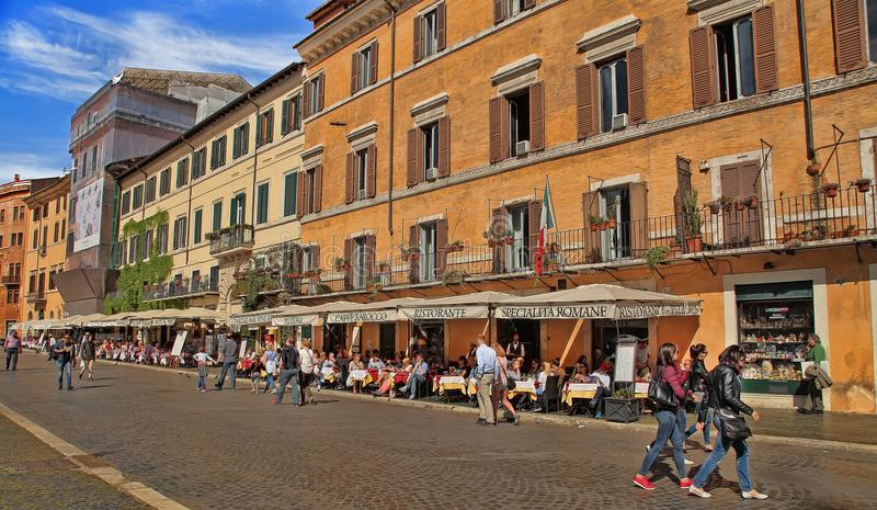 ROMA, ITALY, APRIL 11, 2016 : View of restaurants on Piazza Navona in Rome. royalty free stock image