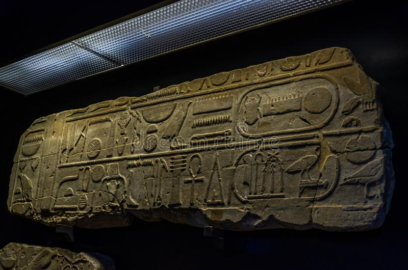 ROMA, ITALY - AUGUST 2018: Ancient Egyptian hieroglyphs in the Vatican Museum stock image