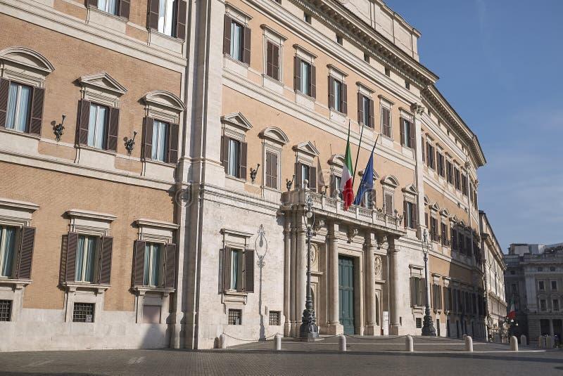 View of Palazzo Montecitorio. Roma, Italy - February 09, 2019 : View of Palazzo Montecitorio in Rome royalty free stock photo