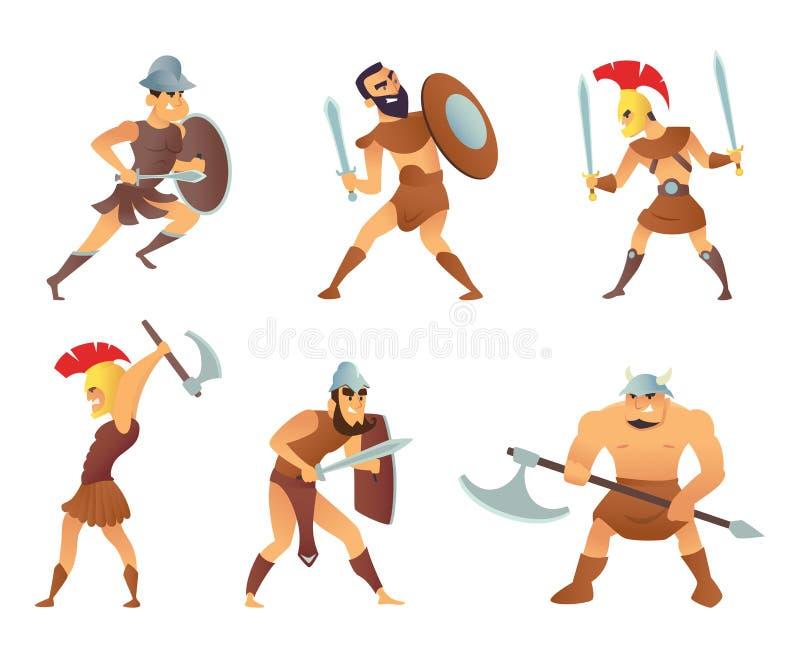 Roma knights o i gladiatori nell'azione differente posa illustrazione di stock