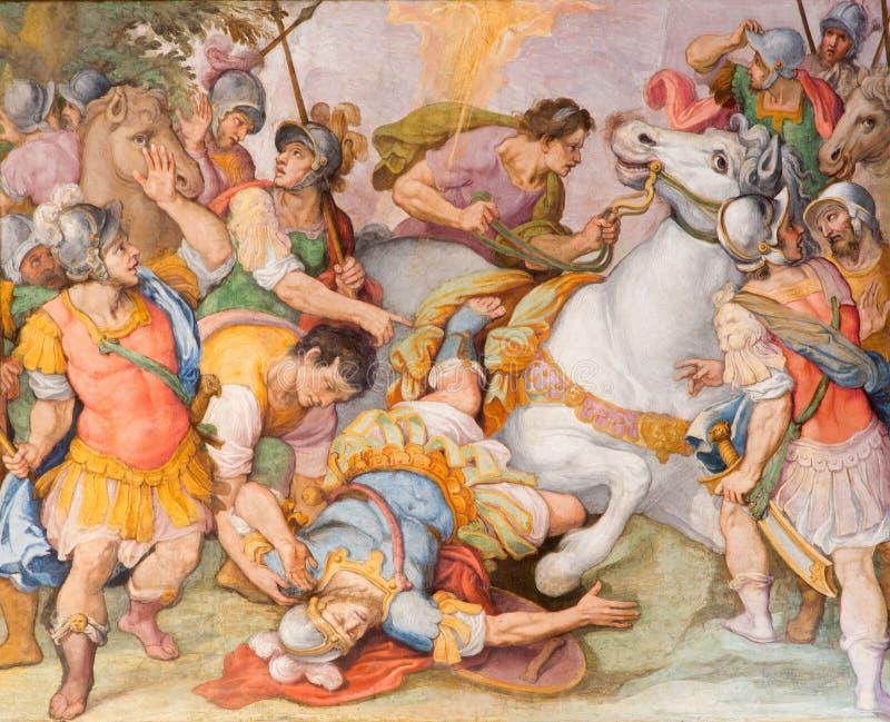Roma - la conversione del freso di St Paul dal G B Ricci da 16 centesimo in Di Santa Maria di Chiesa della chiesa in Transpontina fotografia stock