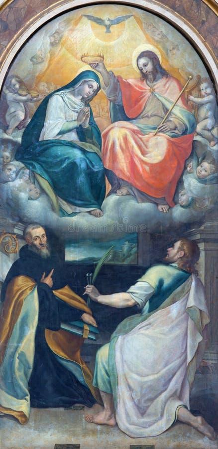 Roma - la coronación de la pintura de la Virgen María de la capilla lateral en los di Santo Spirito de Chiesa de la iglesia en Sa imagenes de archivo