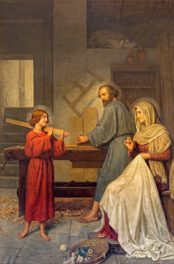 Roma - la pintura de la familia santa de Angelo Zoffoli (1860-1910) en el dei barroco Santi Ambrogio e Carlo al Corso de la basíl fotografía de archivo