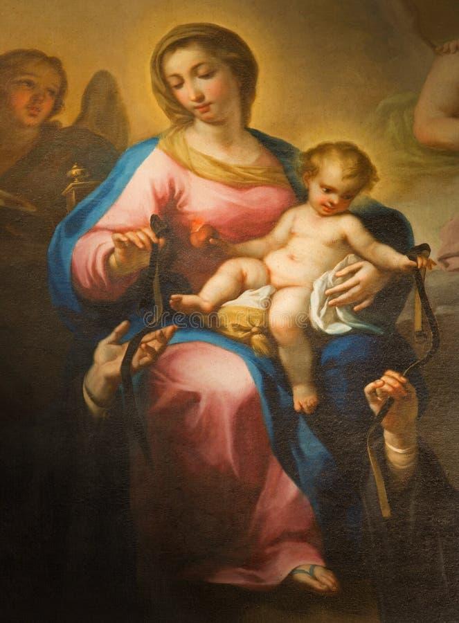 """Roma - la pintura del della Rosa de Madonna de Avanzino Nucci (c 1552†""""1629) en Basilica di Sant Agustín fotografía de archivo"""