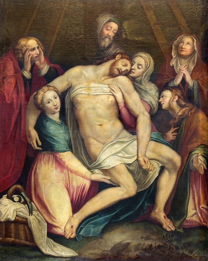 Roma - la pittura del deposito dell'incrocio (Pieta) in Di Santa Maria ai Monti di Chiesa della chiesa immagine stock libera da diritti
