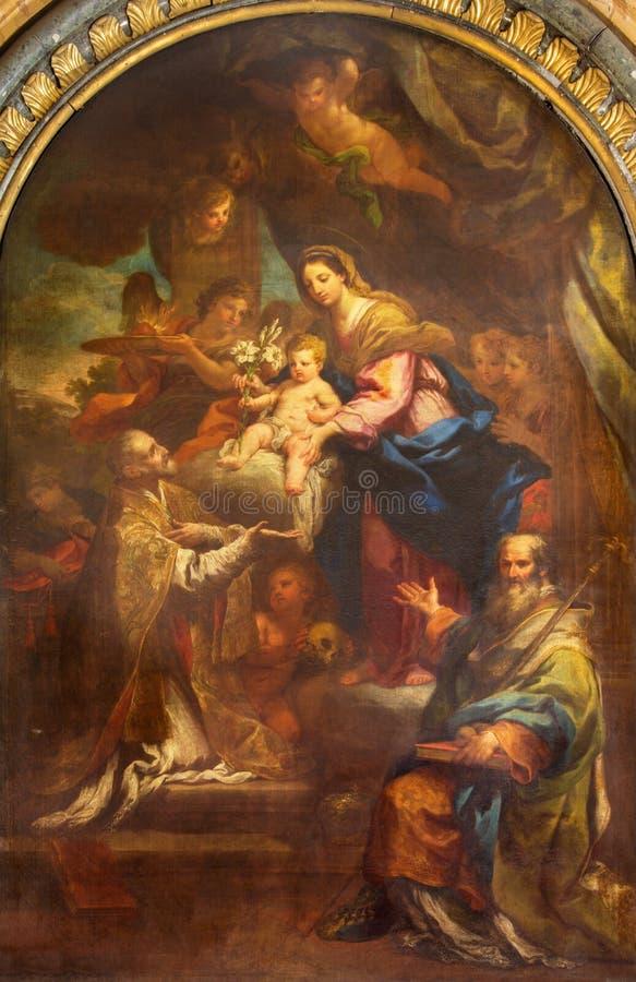 Roma - la pittura di Madonna con la st Philip Neri e San Nicola in Di San Lorenzo della basilica della chiesa in Damaso fotografia stock