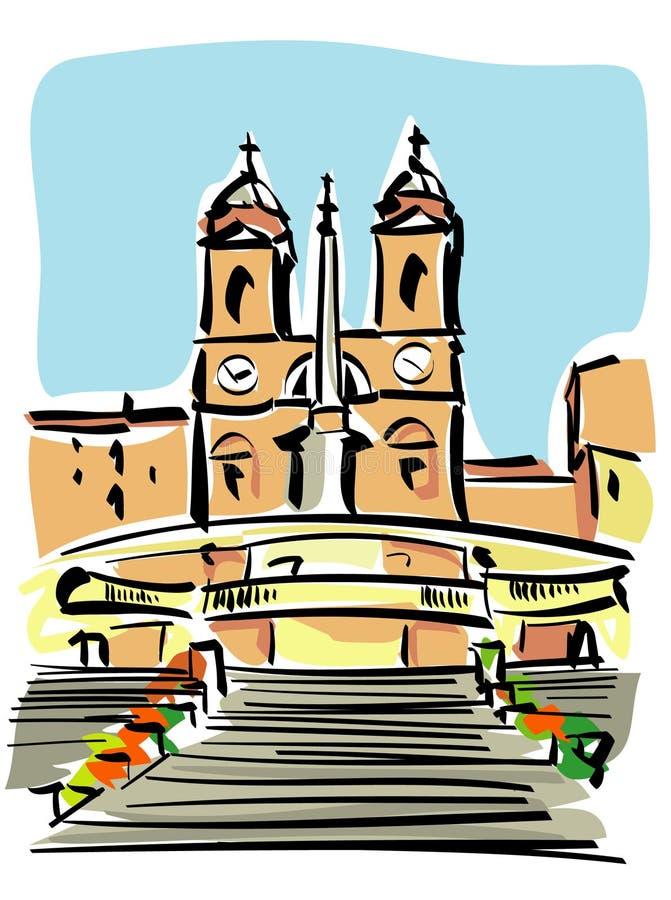 Roma (monti di dei del trinità) royalty illustrazione gratis