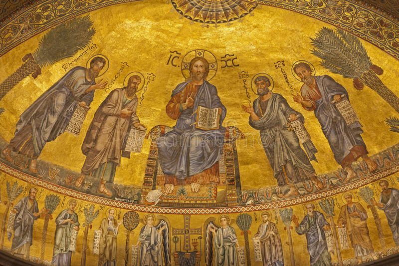 Roma - mosaico de Christ Pantokrator - Saint Paul imagens de stock