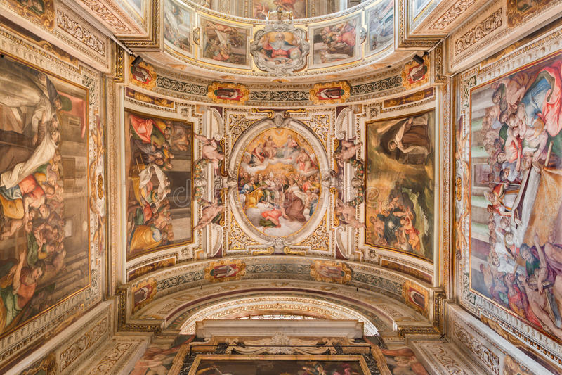 Roma - o fresco do teto por G B Ricci de 16 centavo em di Santa Maria de Chiesa da igreja em Transpontina e em capela de St Peter foto de stock royalty free