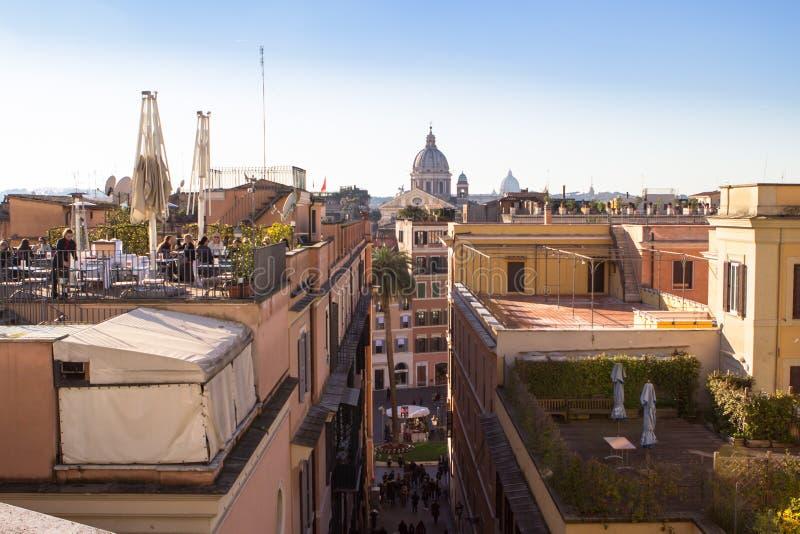 Roma - opinión de la calle de la 'promenade' de Pincio foto de archivo libre de regalías