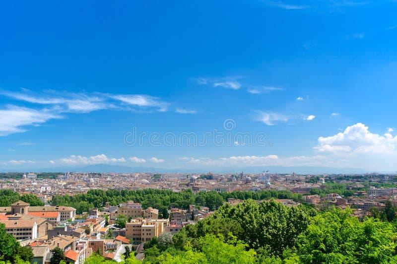 Roma panorama från Gianicolo, Italien arkivbild