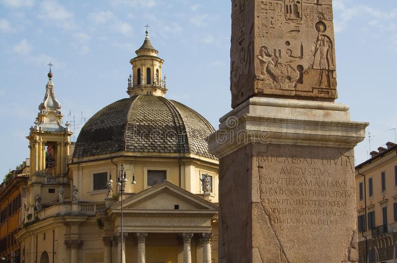 Roma, Piazza del Popolo. Dome and obelisk royalty free stock photos