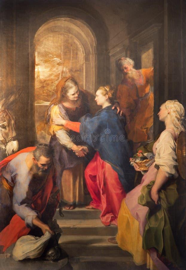 Roma - pintura del Visitation de Federico Barocci (1528 - 1612) en la iglesia barroca Chiesa Nuova (Santa Maria en Vallicella) fotografía de archivo libre de regalías