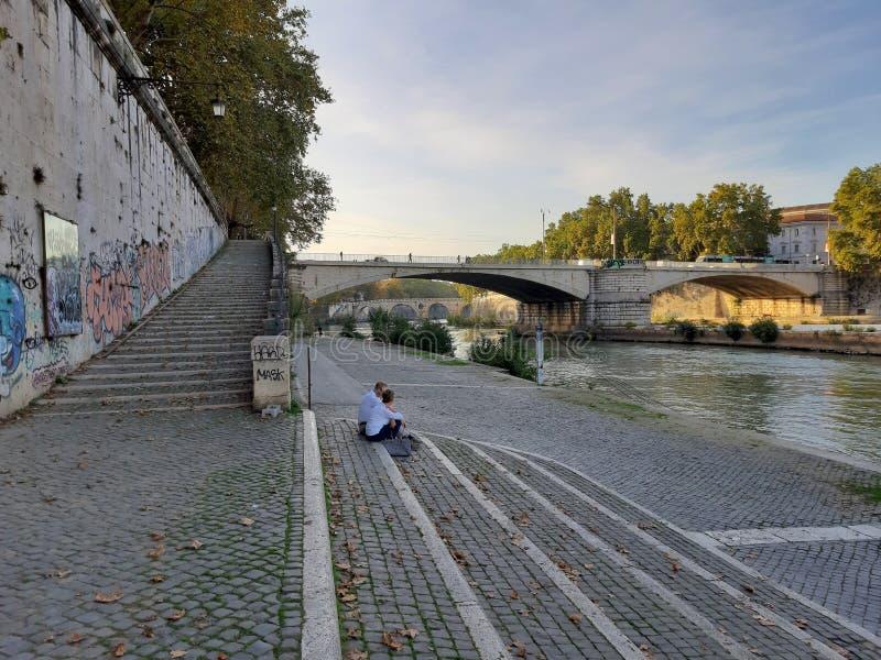 Roma - Scala del Lungotevere degli Anguillara fotografia stock libera da diritti