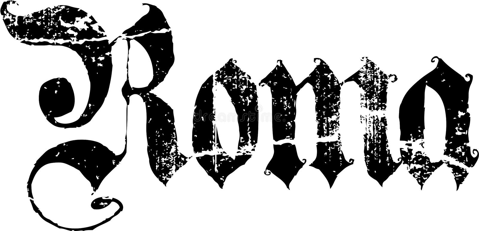 Roma sign. Grunge illustration of a black Roma sign in gothic lettering, white background stock illustration