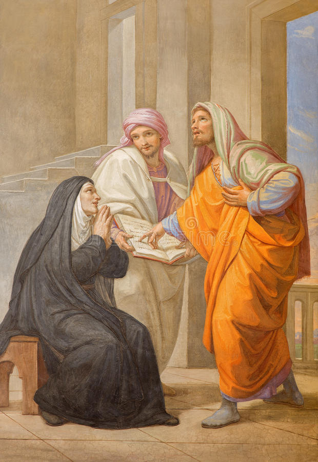 Roma - St Augustine e seu st Monica da mãe em Basílica di Sant Agostino (Augustine) pelo formulário 19 de Pietro Gagliardi centav foto de stock