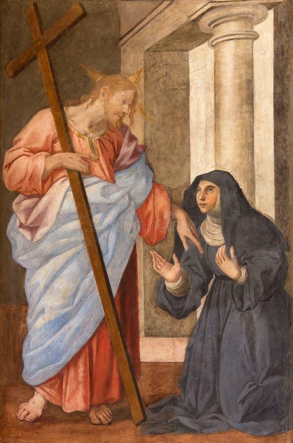 Roma - St Clara antes del fresco de Cristo del artista desconocido de mediados de 18 centavo en Basilica di Sant Agustín fotos de archivo libres de regalías