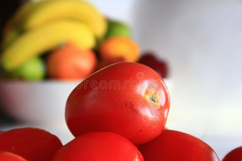 Roma Tomatoes in a kitchen stock photography