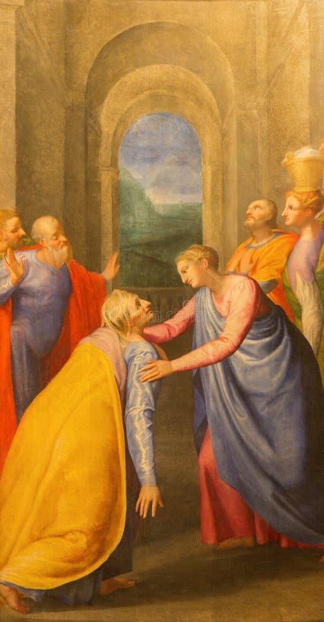 Roma - Visitation de la Virgen María a la pintura de Elizabeth de Giuseppe Valeriano (1526 - 1596) en la iglesia Chiesa del Jesu foto de archivo libre de regalías