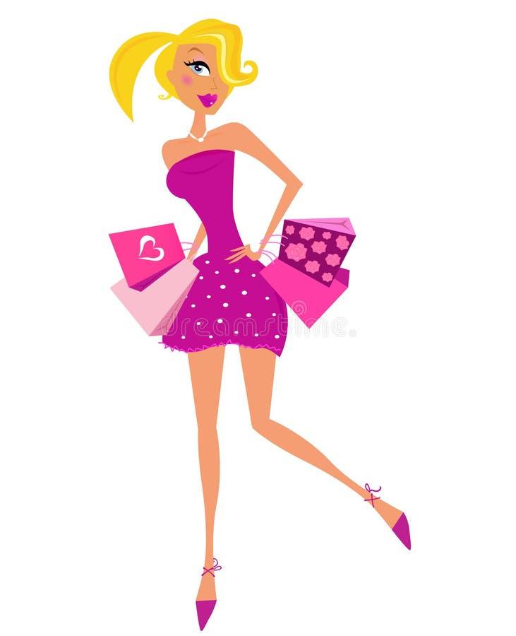Romaanse winkelende vrouw in roze met zakken vector illustratie