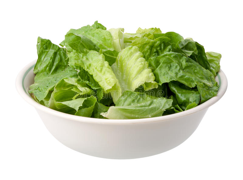 Romaine Salad Bowl isolated. On a white background. The isolation is on a transparent background in the PNG format stock image