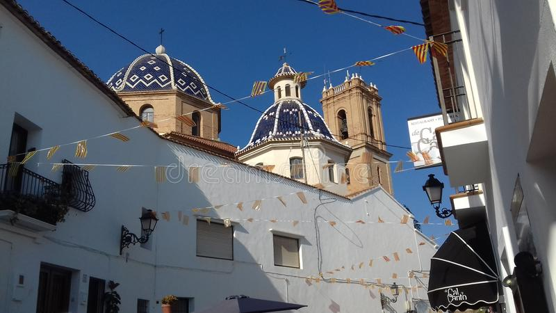 Romamtic города Altea солнечное стоковая фотография