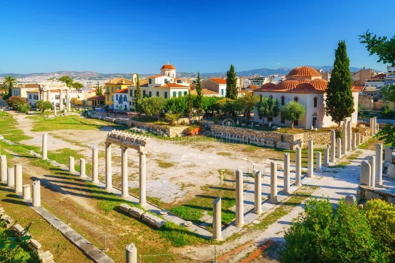 Roman Agora in Athene, Griekenland stock foto