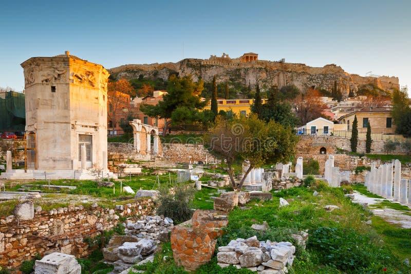 Roman Agora och akropol royaltyfri foto