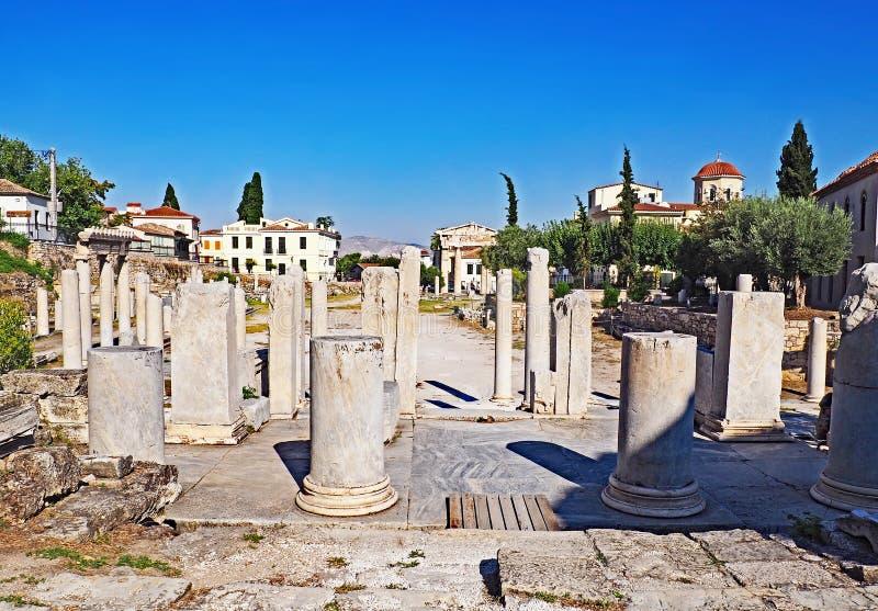 Roman Agora situado em Atenas, Grécia fotos de stock royalty free