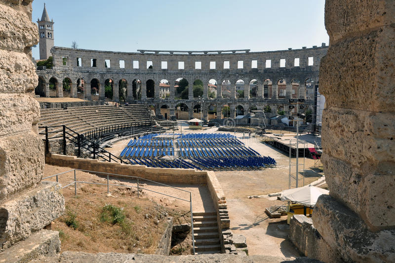 Roman amfitheater, colosseum in Pula, Kroatië stock afbeelding