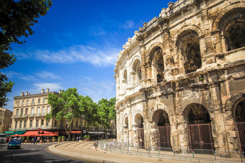 Roman amfitheater in Nîmes, de Provence stock afbeeldingen
