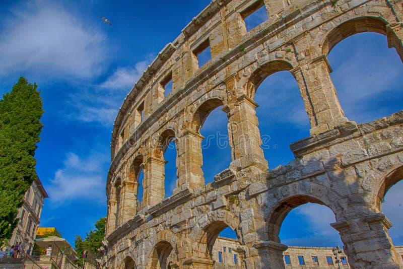 Roman amfitheater in Pula, Kroati? stock afbeeldingen