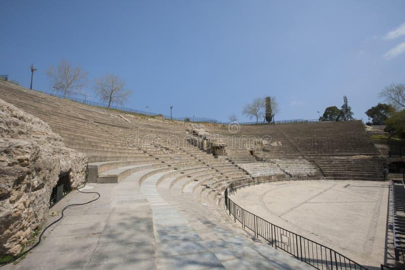 Roman amphitheater against blue sky, Tunis, Tunisia stock photos