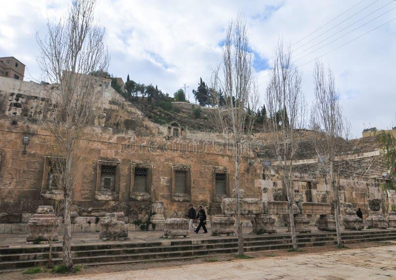 Roman Amphitheater - Amman, Jordânia foto de stock