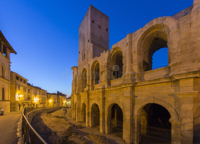 Roman Amphitheater - Arles - South of France. The Roman Amphitheater in the old town of Arles in Provence in the South of France stock photography
