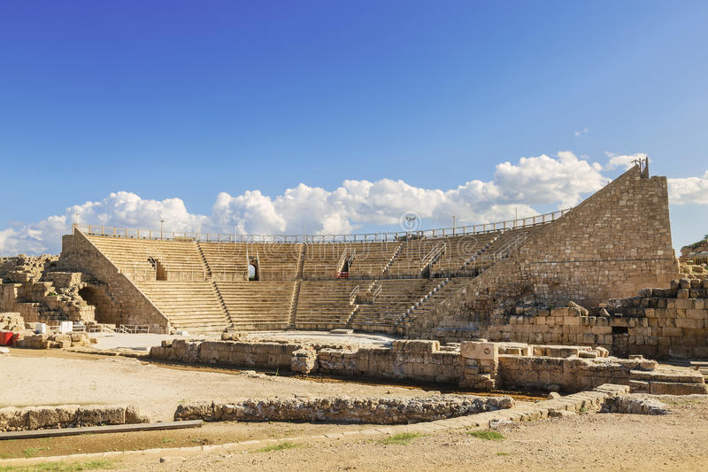Roman amphitheater in the national park Caesarea. On the Mediterranean coast of Israel royalty free stock photography