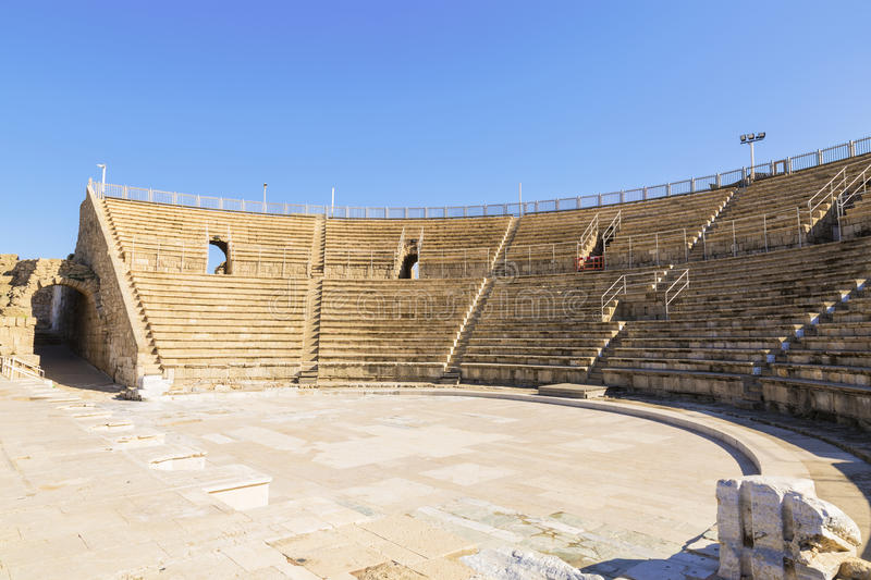 Roman amphitheater in the national park Caesarea. On the Mediterranean coast of Israel royalty free stock photos