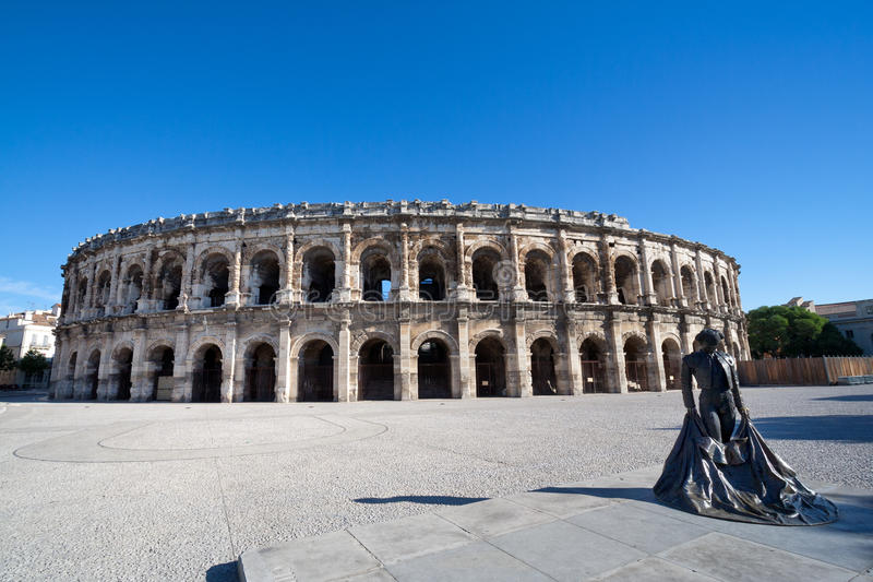 Roman Amphitheater, Nimes, França fotografia de stock